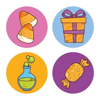 Ensemble de bonbons et boîte-cadeau sur des cadres ronds vector illustration design