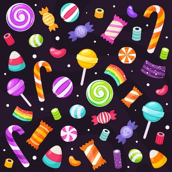 Ensemble de bonbons et bonbons d'halloween. dans un style plat.