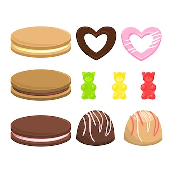 Ensemble de bonbons. collection de dessert sucré. biscuits