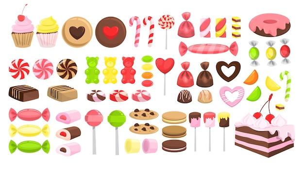 Ensemble de bonbons. collection de dessert sucré. sucette