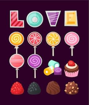 Ensemble de bonbons colorés de la saint-valentin pour les couples amoureux.