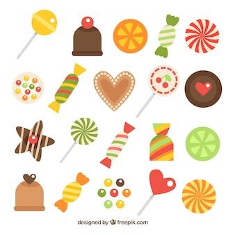 Ensemble de bonbons délicieux dans un style plat