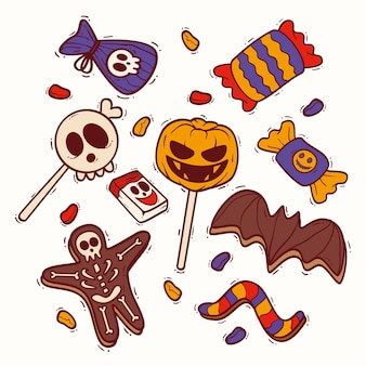 Ensemble de bonbons halloween design dessiné à la main