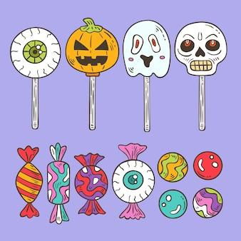 Ensemble de bonbons d'halloween dessinés à la main