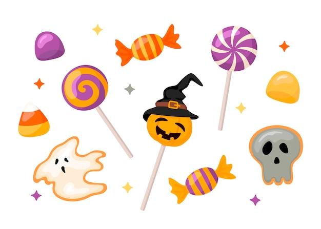 Un ensemble de bonbons d'halloween. il comprend des bonbons sur un bâton, du pain d'épice, du caramel, de la marmelade en style cartoon