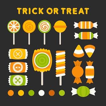 Ensemble de bonbons d'halloween isolés