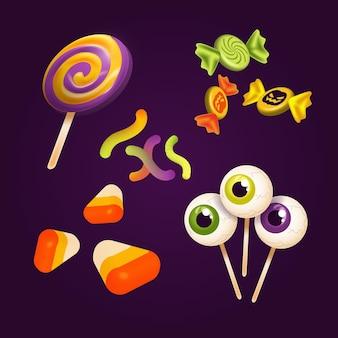 Ensemble de bonbons d'halloween réaliste