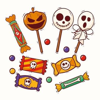 Ensemble de bonbons halloween style dessiné à la main