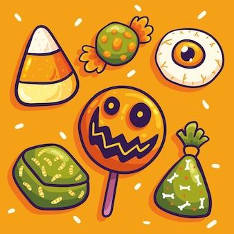 Ensemble de bonbons d'halloween style dessiné à la main