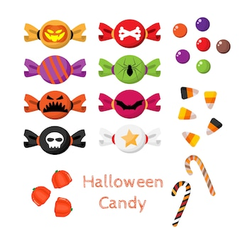 Ensemble de bonbons d'halloween.