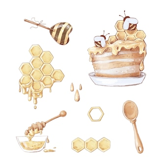 Ensemble de bonbons en nid d'abeille. illustration aquarelle.