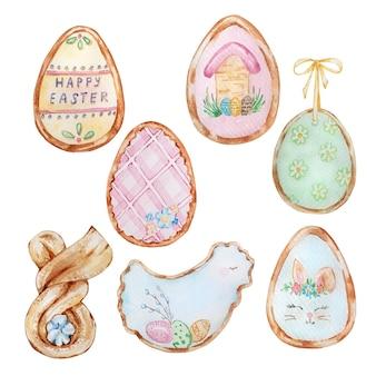 Ensemble de bonbons de pâques aquarelle, pâtisseries. pain d'épices avec glaçage. illustration peinte à la main de printemps de pâques