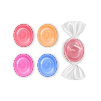 Ensemble de bonbons réalistes, sucettes aux fruits colorés, caramels isolés sur fond blanc, illustration