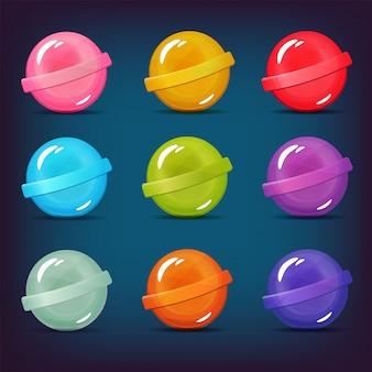 Ensemble de bonbons sucette de différentes couleurs