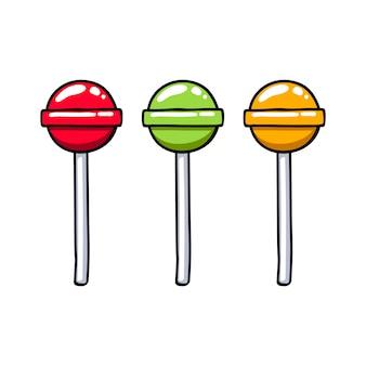 Ensemble de bonbons sucette sucrée colorée ronde colorée