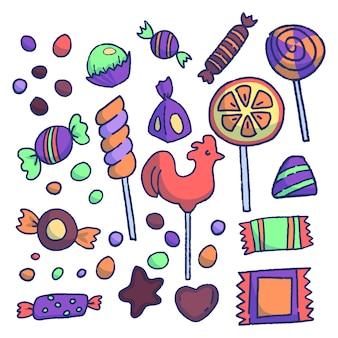 Ensemble de bonbons sucrés.