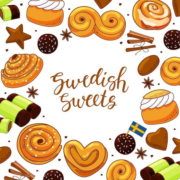Ensemble de bonbons traditionnels suédois. illustration dans le style de bande dessinée.