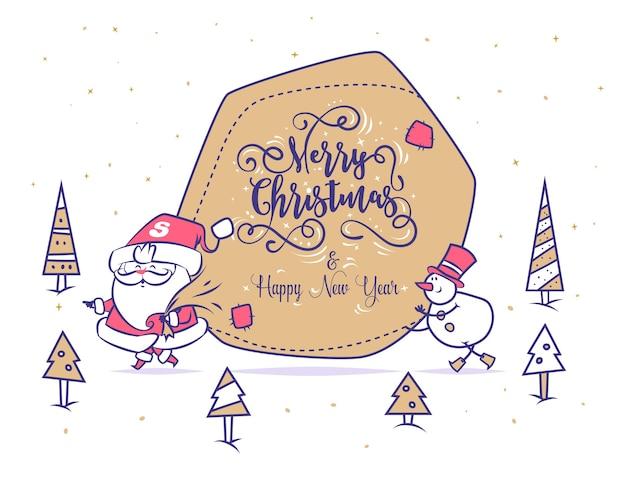 Ensemble de bonhomme de neige drôle de père noël et grand sac de cadeaux.