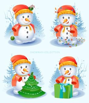Ensemble de bonhomme de neige mignon