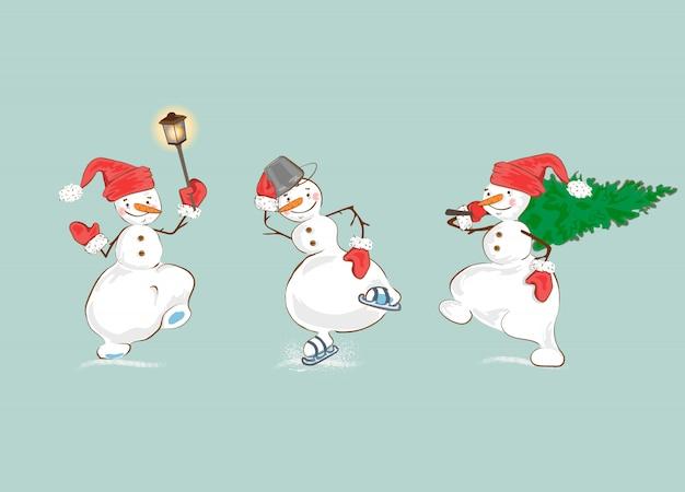 Ensemble de bonhomme de neige vacances hiver dessin animé.