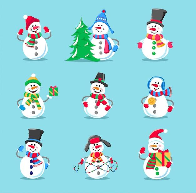 Ensemble de bonhomme de neige vacances d'hiver