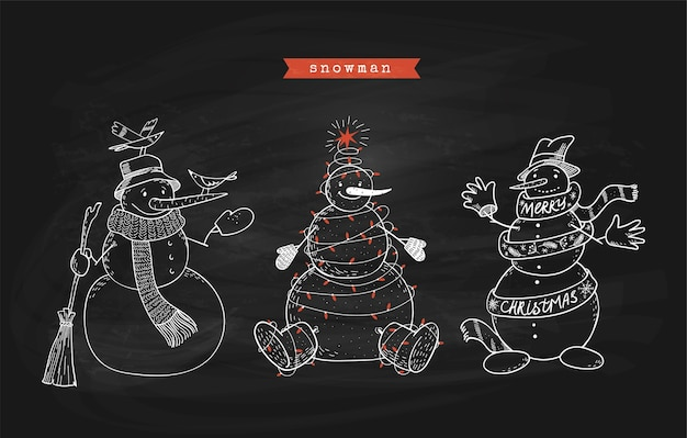 Ensemble de bonhommes de neige doodle sur tableau noir