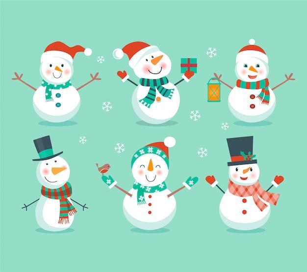 Ensemble de bonhommes de neige
