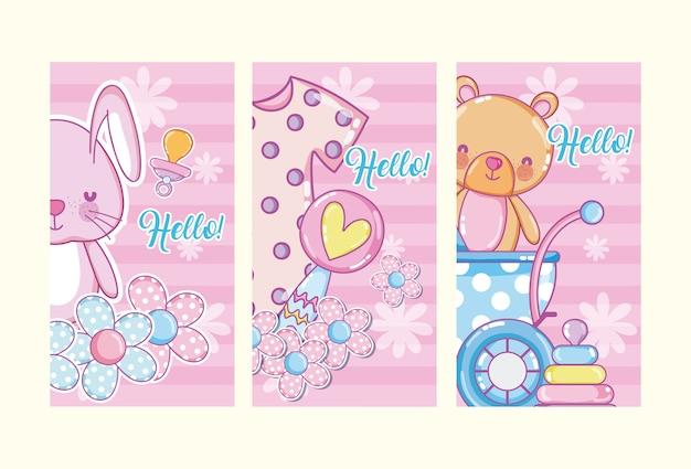 Ensemble de bonjour les cartes de douche de bébé dessins animés mignons
