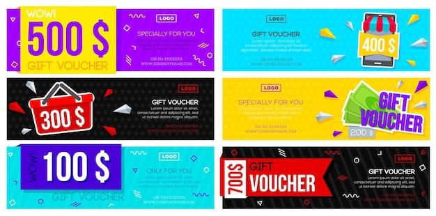 Ensemble de bons cadeaux colorés. modèle de flyers de réduction de collection avec différentes conceptions.