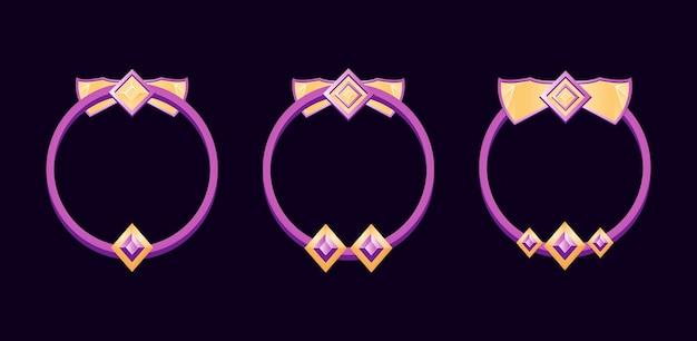 Ensemble de bordure d'avatar gui avec note pour les éléments d'actif de l'interface utilisateur du jeu