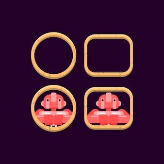 Ensemble de bordure en bois d'interface utilisateur de jeu avec aperçu d'avatar de personnage
