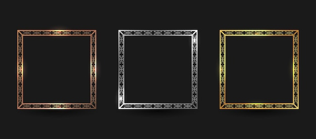 Ensemble de bordure de cadre carré en bronze, argent et or de luxe