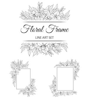 Ensemble de bordure décorative de fond de cadre floral contour