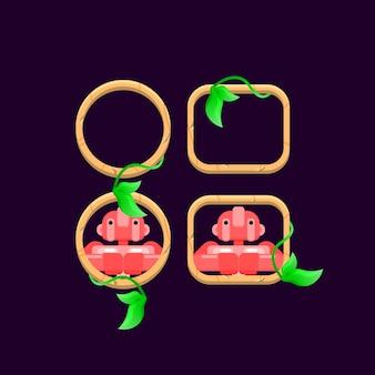 Ensemble de bordure de feuilles en bois d'interface utilisateur de jeu avec aperçu d'avatar de personnage