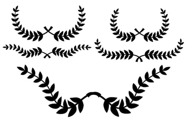 Ensemble de bordure florale, couronne de laurier, pour votre élément de conception, isolé sur blanc