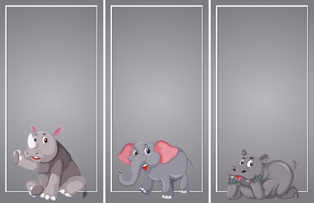 Ensemble de bordure grise animal
