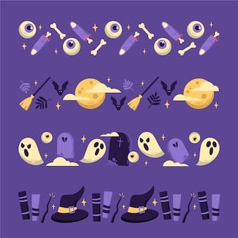 Ensemble de bordure halloween design dessiné à la main