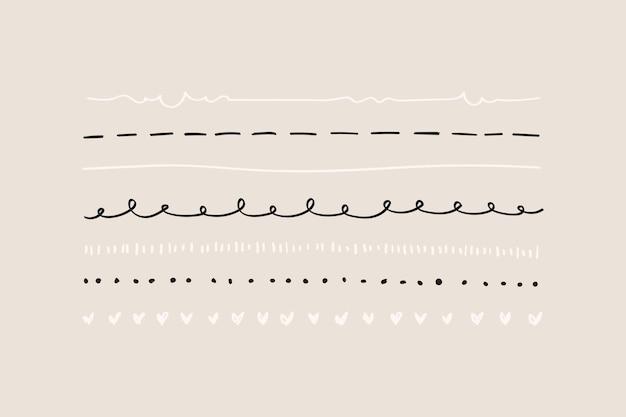Ensemble de bordure de ligne de griffonnage mignon