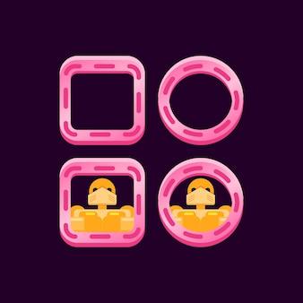 Ensemble de bordure rose brillant d'interface utilisateur de jeu avec aperçu d'avatar de personnage