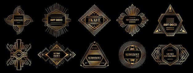 Ensemble de bordures et cadres art déco. modèle géométrique dans le style gatsby des années 1920 pour votre conception, carte de mariage, couverture, décoration de bannière. illustration vectorielle eps 10