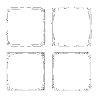 Ensemble de bordures et cadres art déco vignette motif géométrique vintage line cadre linéaire décoratif