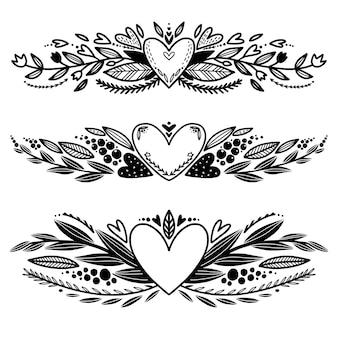 Ensemble de bordures décoratives d'amour dessinés à la main à colorier