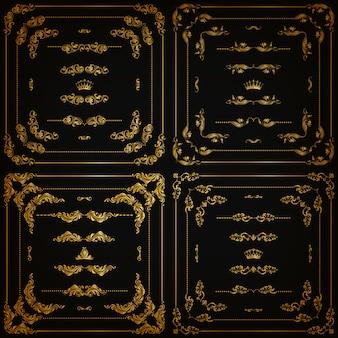 Ensemble de bordures décoratives en or, cadre