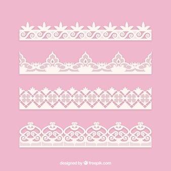 Ensemble de bordures en dentelle décorative en conception plate