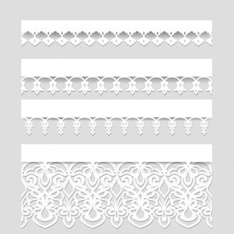 Ensemble de bordures de dentelle transparente blanche avec des ombres, des lignes de papier ornementales, vecteur eps10