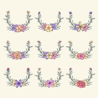 Ensemble de bordures de fleurs, ligne dessinée à la main avec une couleur numérique