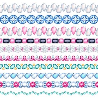 Ensemble de bordures horizontales sans soudure de pierres précieuses colorées. style ethnique. bijoux collier chaîne bracelet.