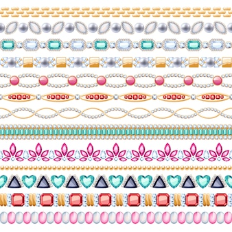 Ensemble de bordures horizontales sans soudure de pierres précieuses colorées. style indien ethnique. bijoux collier chaîne bracelet.