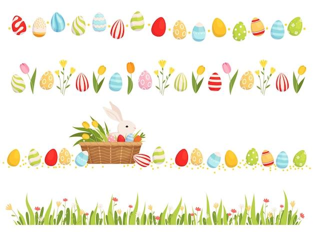 Un ensemble de bordures de pâques. des bandes d'œufs peints, de tulipes et d'herbes avec des fleurs.