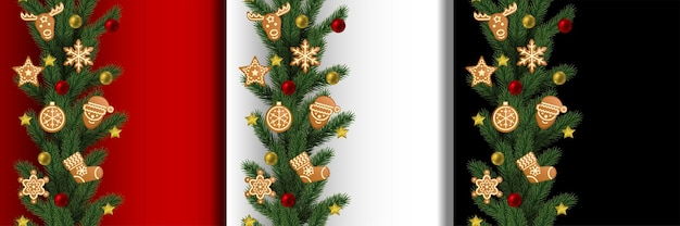 Ensemble de bordures verticales sans soudure de noël et du nouvel an